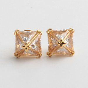 Henri Bendel Square Zircon Stud Earrings